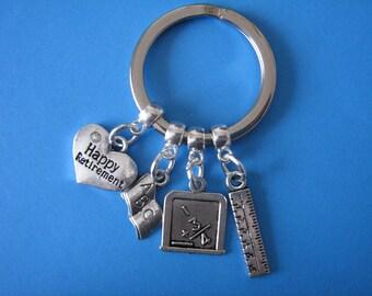 Retired Teacher Gift Happy Retirement Keyring Teaching Retiral Keychain