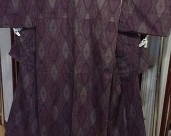 Women's purple woven Tsumugi silk komon kimono