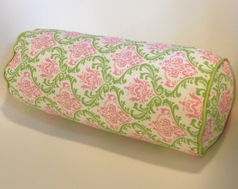 Madison Candy Pink/Chartreuse neckroll READY TO SHIP 6 x 16 corded, zippered insert included