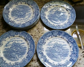 English Village olde staffordshire salem dinner plates set of 8