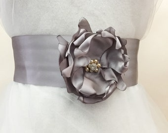 Grey sash belt, grey flower sash,  bridal sash belt, bridal sash,