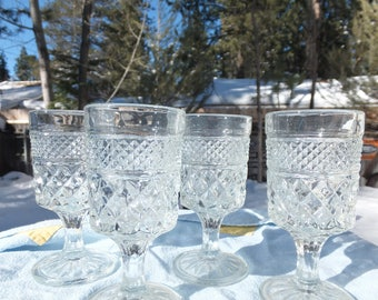 4 Small Wexford Clear/Cut Goblets - Anchor Hocking