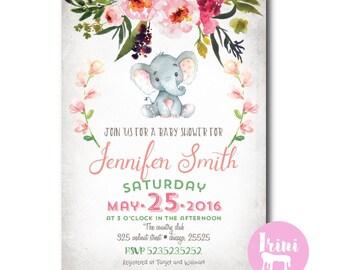 Elephant baby shower invitation, its a girl shower invite, watercolor invite, pink elephant baby shower invite, baby girl shower printable