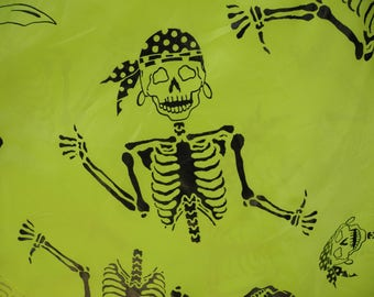 Halloween fabric  / 2 yards / lime green / pirate skeletons