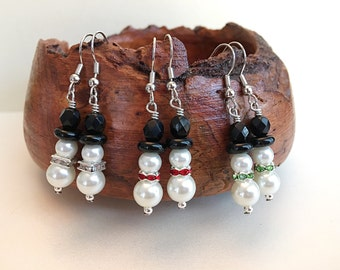Snowmen Dangle Drop Earrings Christmas Holidays Winter Green Red Crystal