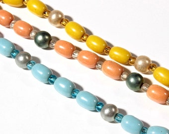 Lot vintage Czech yellow pink blue lustre faux pearl silver lined glass beads 105-81