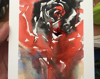 Watercolor and chinese ink floral rose watercolor flower painting rose painting