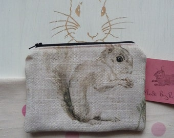 Handmade Squirrel Purse Makeup Bag Animals Cosmetic Pouch Padded Lined