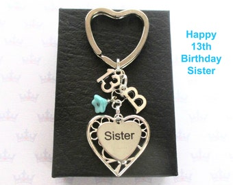 Sister 13th birthday gift - 13th keychain - Sister gift - Personalised 13th keyring - Personalised sister keyring - Sister keychain - UK