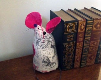 Doorstop Fabric / Bookend / Home Decor - Travel Print Hot Pink and Gray