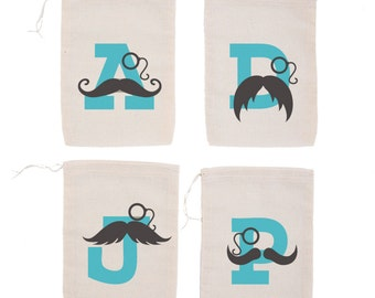 Mustache Party {set of 10} Personalized Initial Party Favor Bags