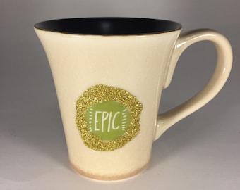 Epic glitter mug // dishwasher safe! // holds 10 ounces