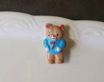 SALE!*** Teddy Bear Painted Metal Button 1980's JHB