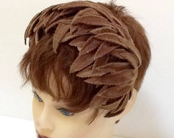 Vintage Velvet Leaf Half Hat / Headband Hat / Brown Velvet / Abstract / Mid Century / Retro / High Fashion / Mini Hat