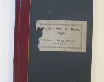 Vintage Odd Fellows Minute Book Ledger