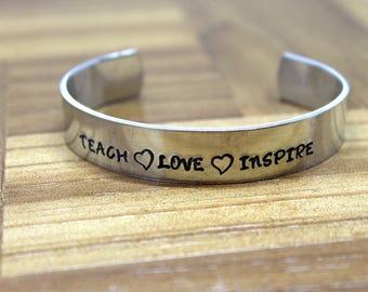 Teacher Gift / Teacher Appreciation / Teach Love Inspire / Daycare Gift