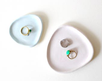 Ceramic jewelry display dishes, geometric shapes / set of two / matte pastel blue, pink / ready to ship