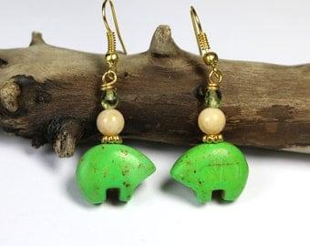 Green Bear Earrings, Green Magnesite Stone Jewelry, Alaskan Made, Organic