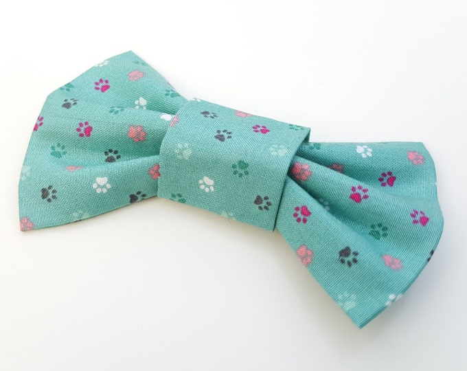 Dog Bow Tie - green paws
