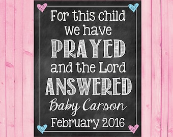 Printable Pregnancy Announcement Photo Prop // For This Child // Pregnancy Reveal // Religious // Scripture
