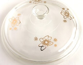 """RESERVED FOR ASHLEY! Vintage Atomic Glass Lid Pyrex Corning Replacement Cover Gold Starburst #407 Round 8-1/4"""""""
