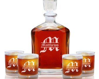 Wedding Gifts for Couple, Personalized Whiskey Decanter Set with 4 Whiskey Glasses, Groomsmen Gift, Engraved Decanter Set, Scotch Decanter