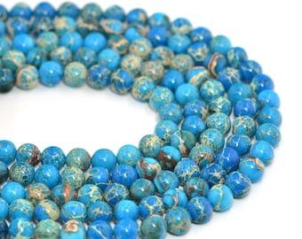 "8MM08 8mm Blue sea sediment jasper round loose beads 16"""