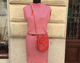 Vintage eighties stripes red red striped sailor dress