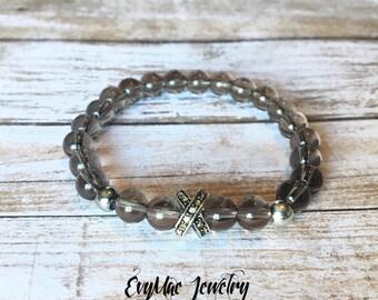 Smokey quartz bracelet: mens bracelet, womens bracelet