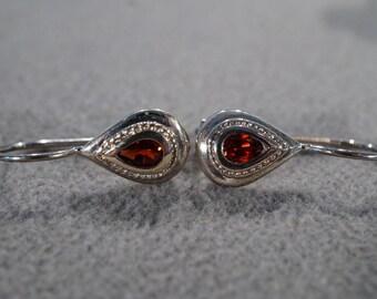vintage sterling silver fashion drop earrings with teardrop shaped setting and teardrop garnet stones   M1
