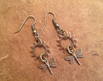 Steampunk Gear Dragonfly Earrings