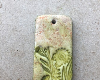 Handmade rustic green and tan leafy flower faux stoneware polymer clay rectangular focal pendant