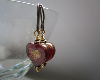Unusual New Czech Glass Heart Earrings Little Dark Red with Gold Picasso Glass Earrings Hypoallergenic Niobium Ear Wires Pretty and Funky