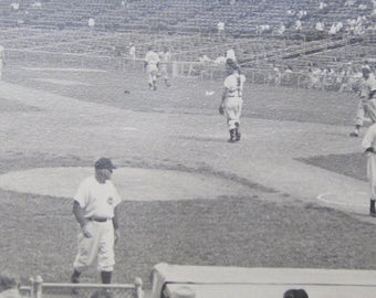 1940's Chicago Cubs vs Cincinnati Reds Crosley Field Ballpark Snapshot Photograph - Free Shipping