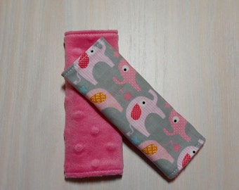 Car Seat Strap Covers - Gray w/ pink elephants