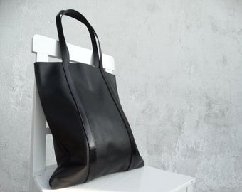 On Sale 15% Large Leather Tote Bag /Large Black Leather Tote/Big Leather Shoulder Bag/Ready to ship