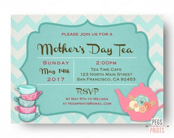 Mothers Day Tea Invitation - Mothers Day Tea Party Invites PRINTABLE - Mothers Day Brunch - Mothers Day Dinner Party - Mothers Day Lunch