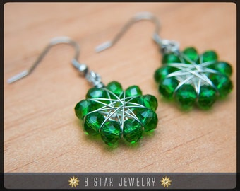 Radiant Star - Baha'i 9 Star Crystal Wire-wrapped Dangle Earrings -Forest Green Glass Crystal- BRSE9