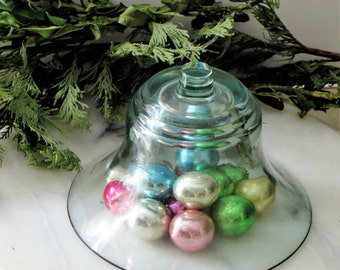 Blue Glass Cloche,  Glass Cloche Bell Jar Glass Dome, Garden Cloche, Glass Display Vintage Cloche, Plant Cloche, Curio Display
