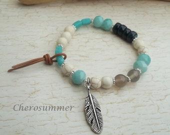 Ethnic bracelet spring turquoise white blue