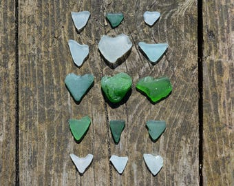 Natural Sea Glass Hearts. Heart Shaped Seaglass. Beach Glass