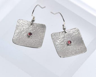 Garnet Jewelry, Garnet Earrings, Square Silver Earrings with Garnet, January Birthstone Earrings, Silver and Garnet Jewellery, One in Stock