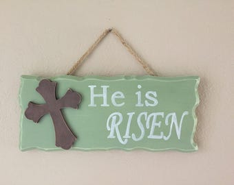 Easter He Is Risen Sign, Easter Home Decor, Easter Sign, Risen Sign, Easter Decoration, Rustic Easter Sign, Jesus is Risen, COLOR OPTIONS