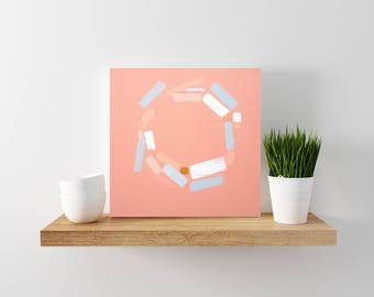 Coral and Grey Abstract Painting - Modern Home Decor - Modern Minimal Art - Geometric Art- Abstract Art