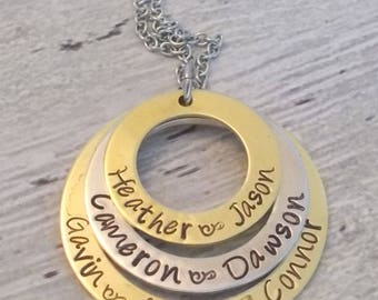 Personalized Mom Necklace, Grandma Necklace, Child Name Necklace
