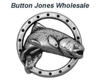 50 pcs. Trout Fish 3/4 inch ( 19 mm ) Metal Buttons Antique Silver Color
