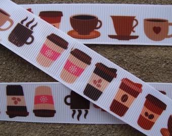 "Coffee cup ribbon 7/8"" breakfast ribbon cup ribbon Cooking grosgrain hair bow ribbon"