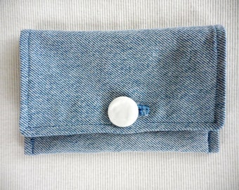Upcycled Denim Passport Cover w/ Mother of Pearl button closure, RFID block, for travel, going away gift, bon voyage gift, extra credit card