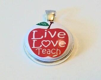 Red Apple Live Love Teach Teacher Appreciation Round Silver Pendant