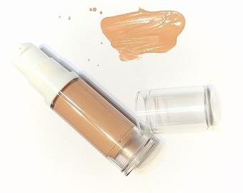 CARAMEL Liquid ORGANIC Foundation - Natural Makeup Vegan Gluten Free - Liquid Serum Mineral Makeup